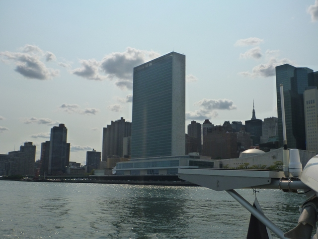 The UN Bldg; when in session this part of the river is closed
