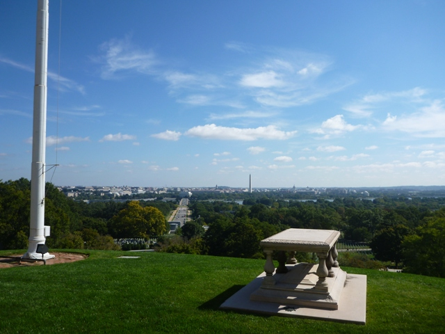 The hill at Arlington overlooks the Washington Monument