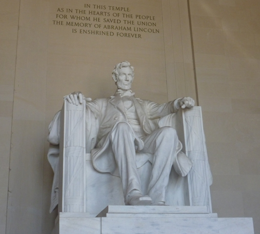 Abraham Lincoln inside the Memorial