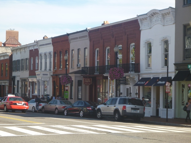 Shops in Georgetown; no neon signs