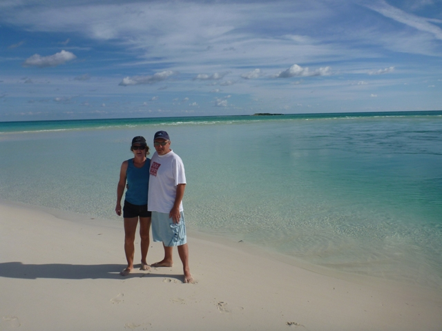 Enjoying the beaches at a Shroud Cay
