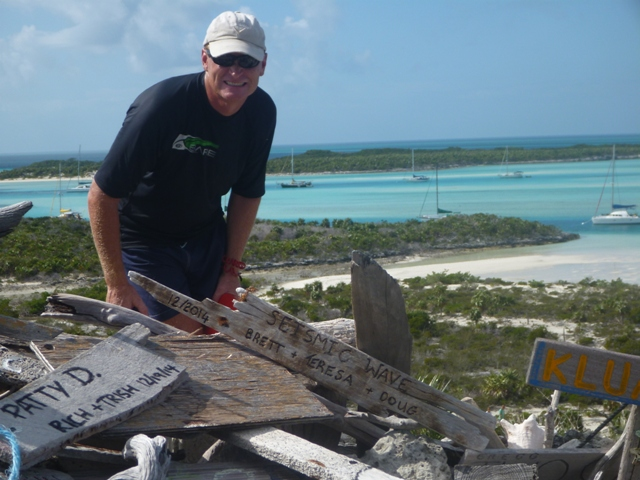 Our piece of driftwood at Boo Boo hill, Warderick Wells Cay