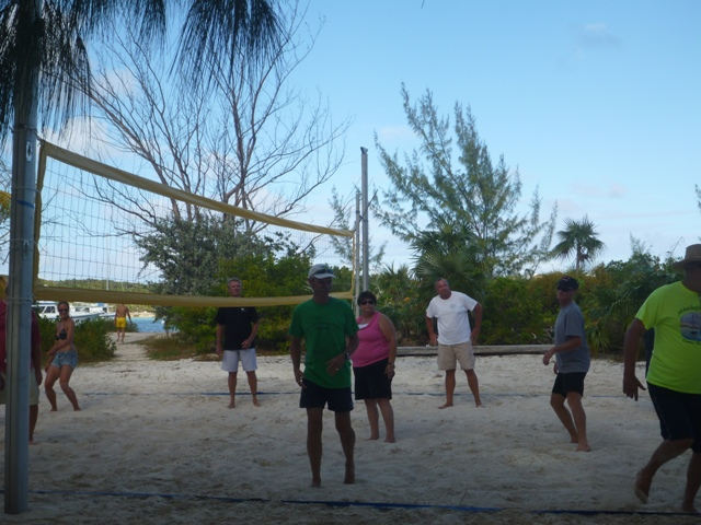 Volleyball at Lee Stocking Island with friends from Grenada