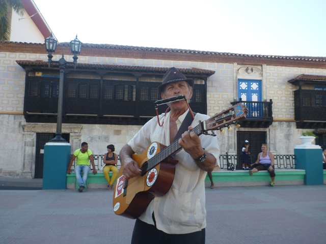 performer in one of the many squares