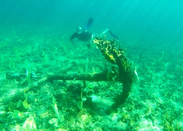 Huge anchor we found while snorkeling near the lighthouse