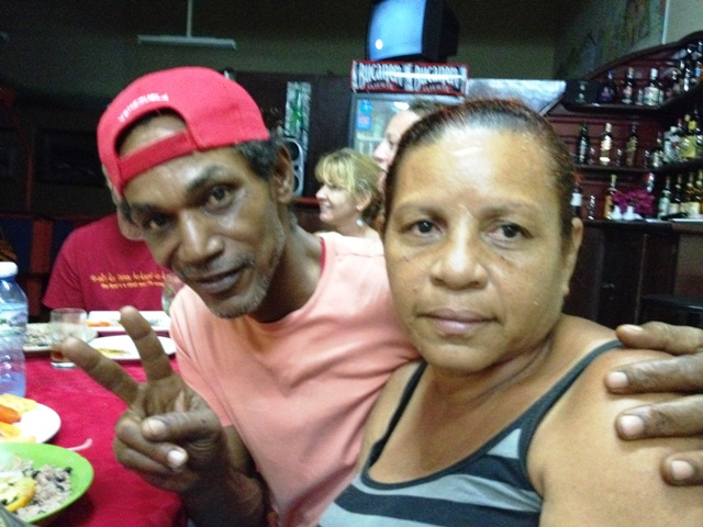 Pedro & Rosa from Santiago de Cuba put on a lovely dinner for us at the local bar