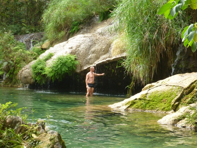 The natural pools above the falls even had lifeguards there