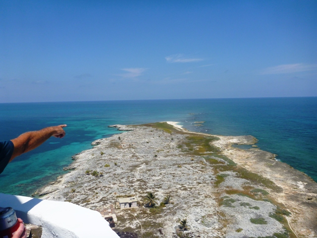 from the top of the lighthouse looking out to the reef we had snorkeled