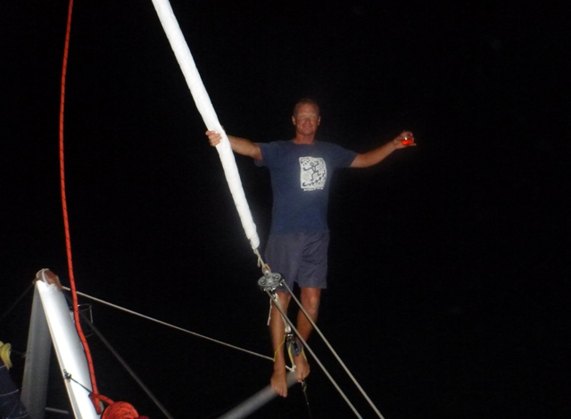balancing on the screecher bow sprit after a lot of rum