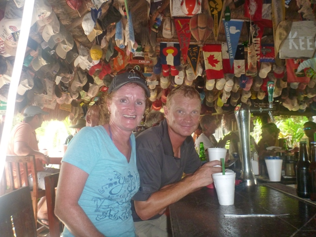At the Soggy Peso which serves 1 choice of meal a day and very very strong margaritas.