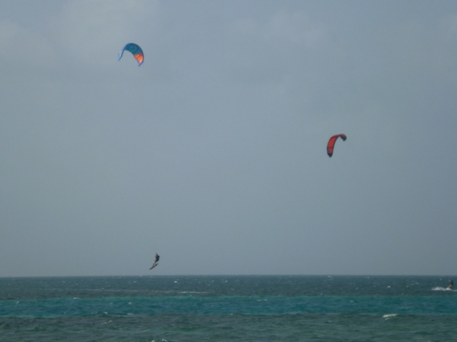 it's so windy here the kite boarders love the Caye Caulker area