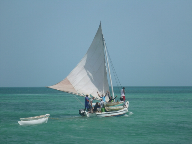 The Belize sailing boats have an interesting design with huge sails & very friendly people