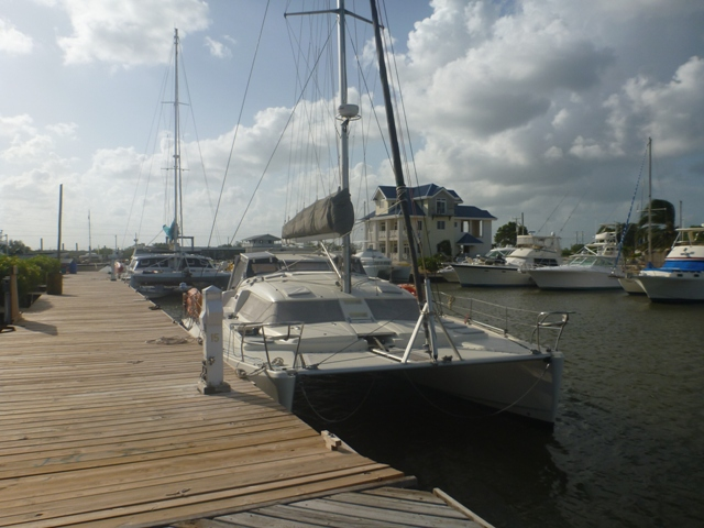 docked at Cucumber Beach Marina