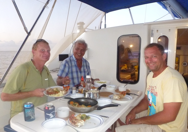 At Turneffe, lobster with Ramone (Ron & his father Bernard) thanks to a local fisherman