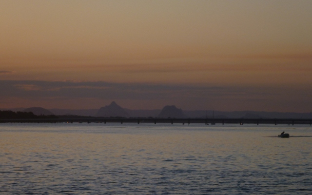 The glasshouse mountains looked majestic in the distance from Bribie Island