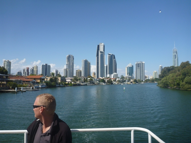 view of SP from boat cruise; lots of apartment blocks