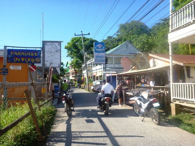 1 main road along the island with little stores, dive outfits and lodging