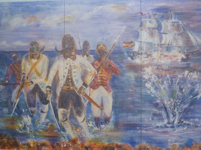 1 of the murals at Fort George showing the Spanish attacks of 1779