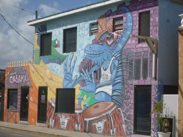 the blue iguana that has come back from near extinction; painted on a restaurant in town