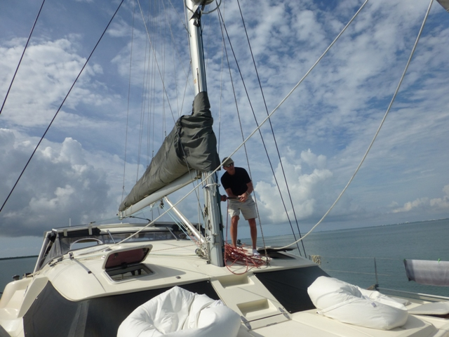 Larry putting our screecher sail up