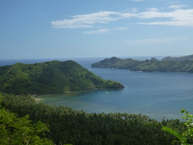 Views down to Anaho and our protected anchorage all to ourselves now